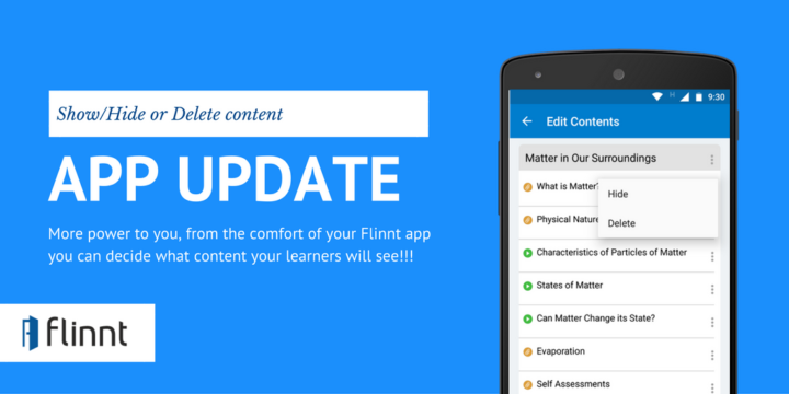 Flinnt Update for Educators: Now Exercise Control over the 'Contents' Section Using Our Mobile App!